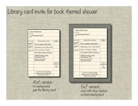 Library Card Invite For Book Themed ShowerLibrary Card