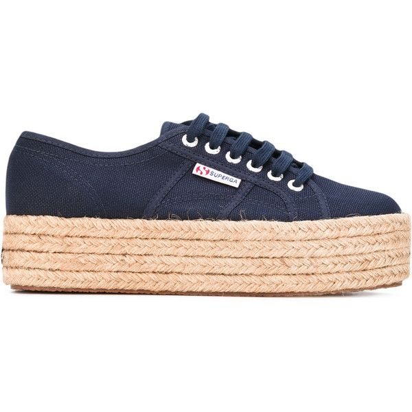 Superga platform lace-up sneakers (340 BRL) ❤ liked on Polyvore featuring shoes, sneakers, zapatos, clothes - shoes, zapatillas, blue, platform trainers, platform sneakers, superga sneakers and superga