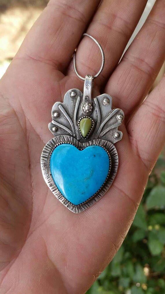 Sacred heart pendant heart pendant turquoise heart necklace sacred heart pendant heart pendant turquoise heart necklace flaming heart jewelry large aloadofball Images