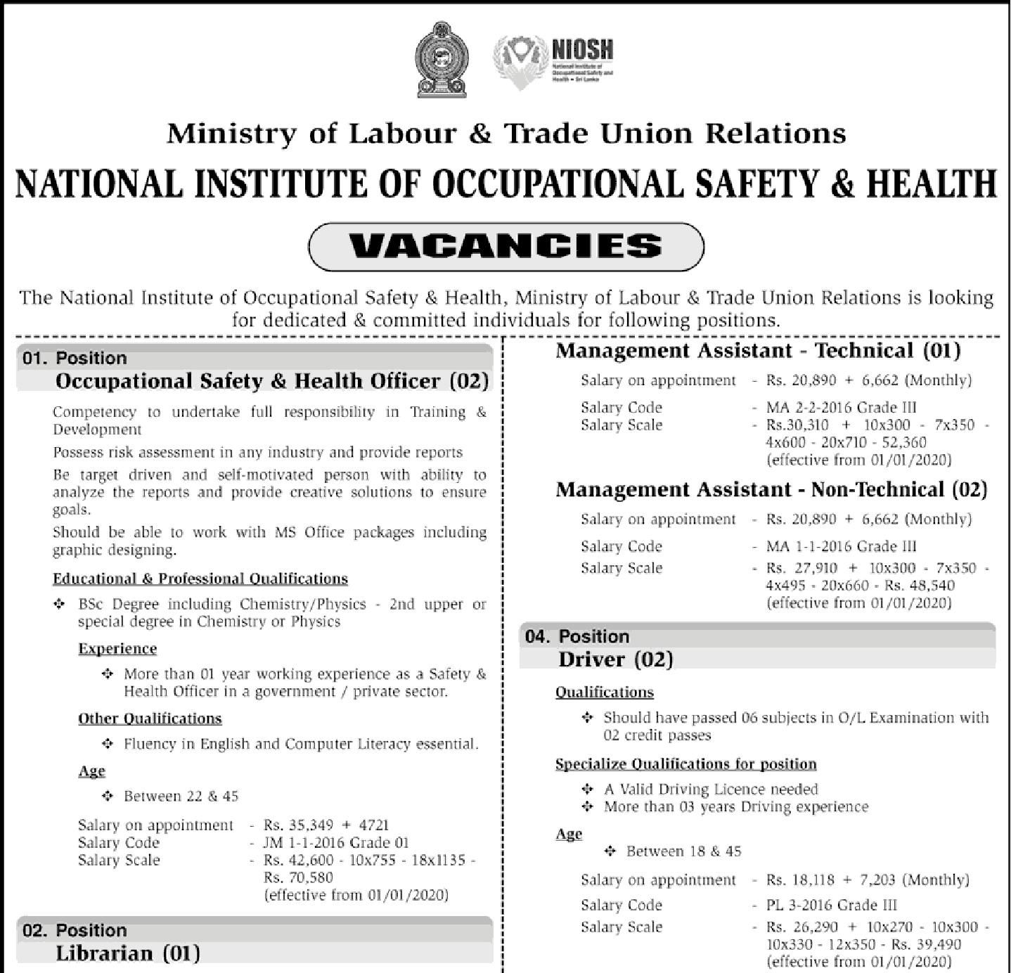 Sri Lankan Government Job Vacancies at National Institute
