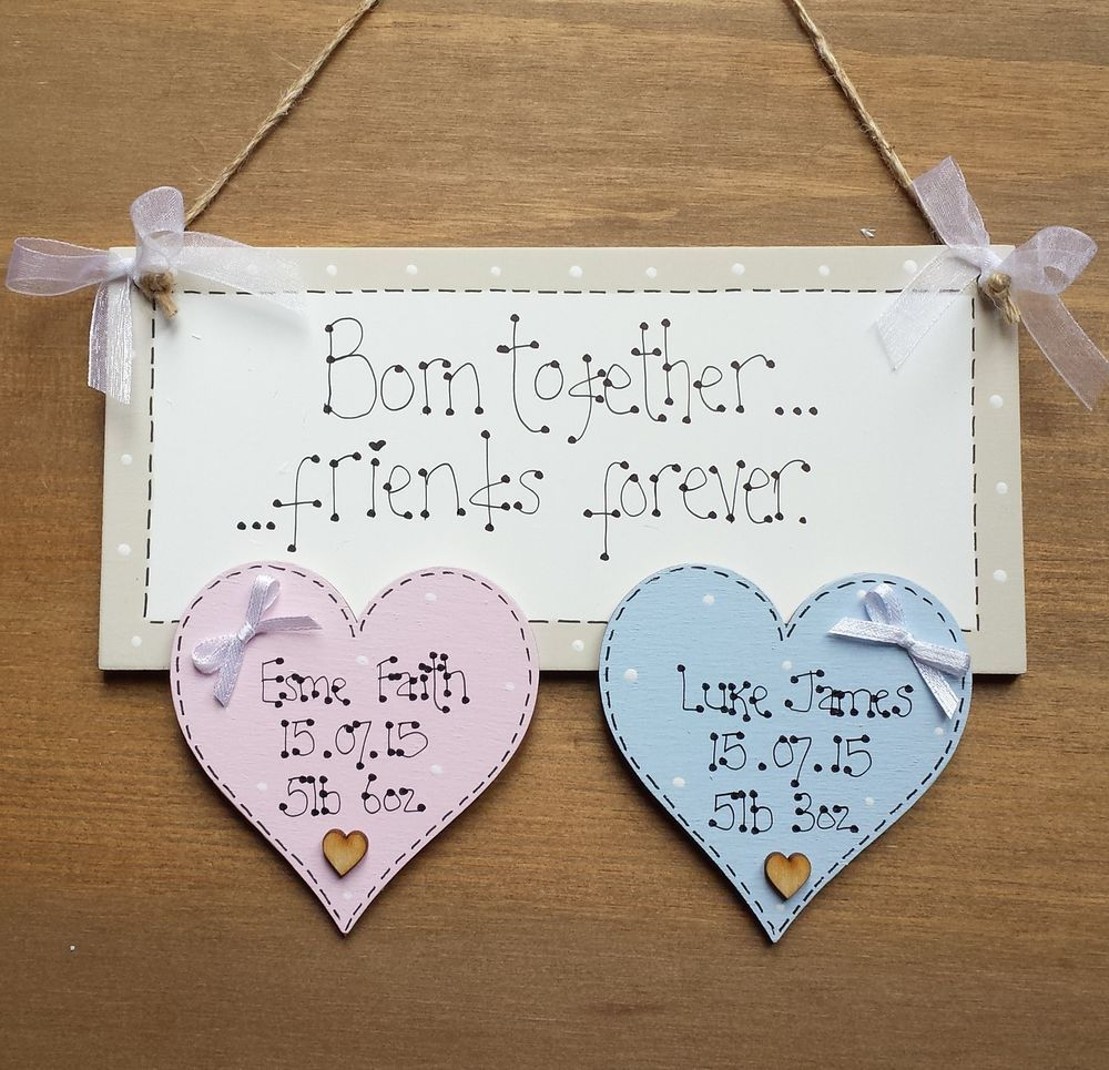 Personalised new twins triplets baby girl boy birth christening personalised new twins triplets baby girl boy birth christening plaque sign in home furniture negle Image collections