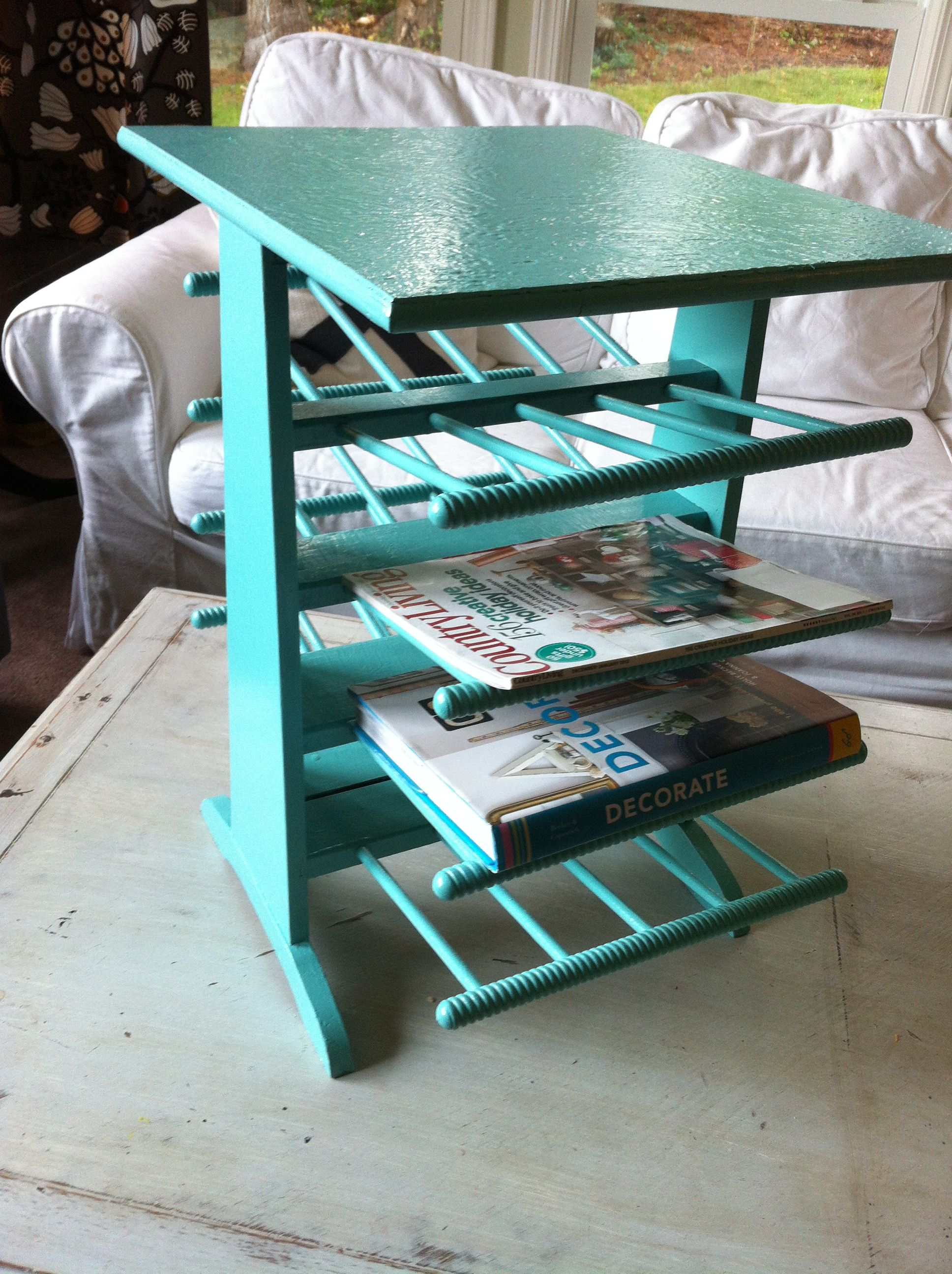 Turquoise magazine/book rack and side table