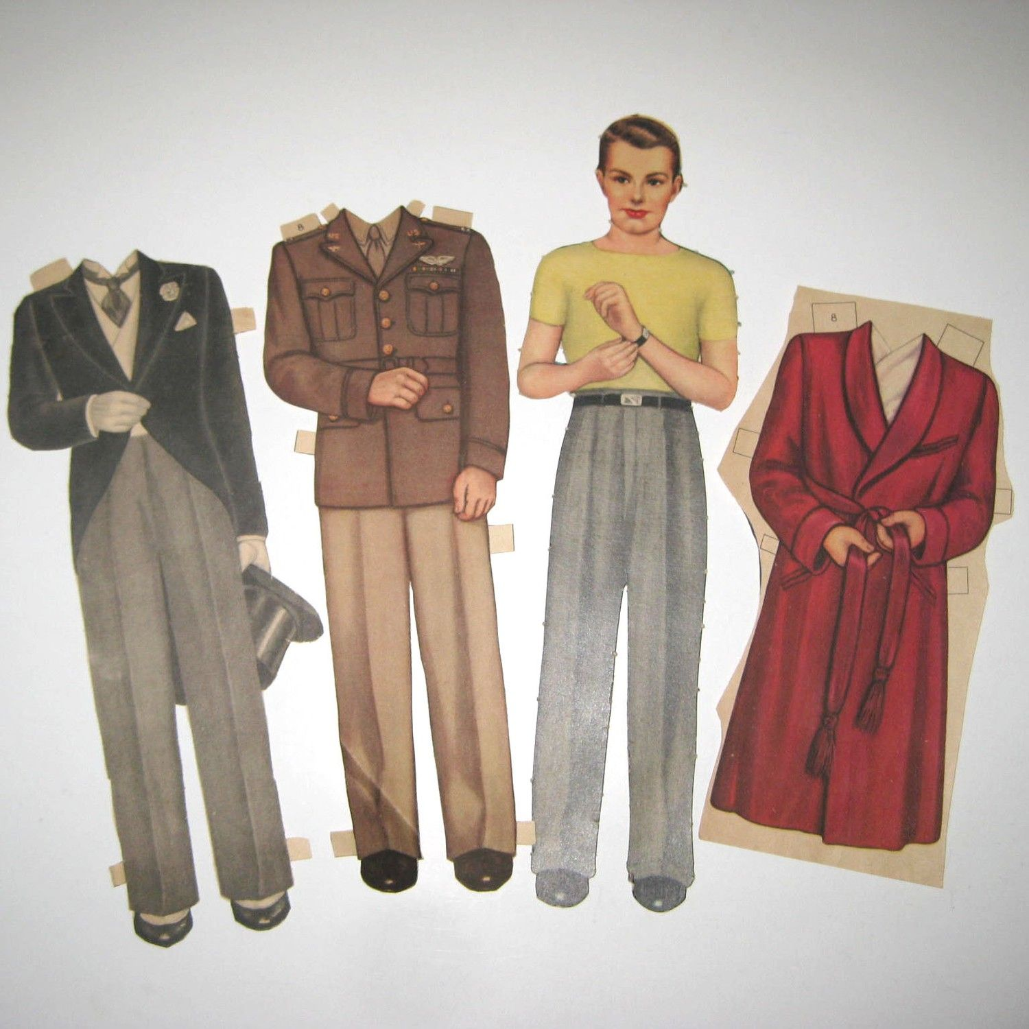 Vintage 1940s Man And Outfits By Queen Holden Paper Dolls Paper Dolls Vintage Paper Dolls Paperdolls