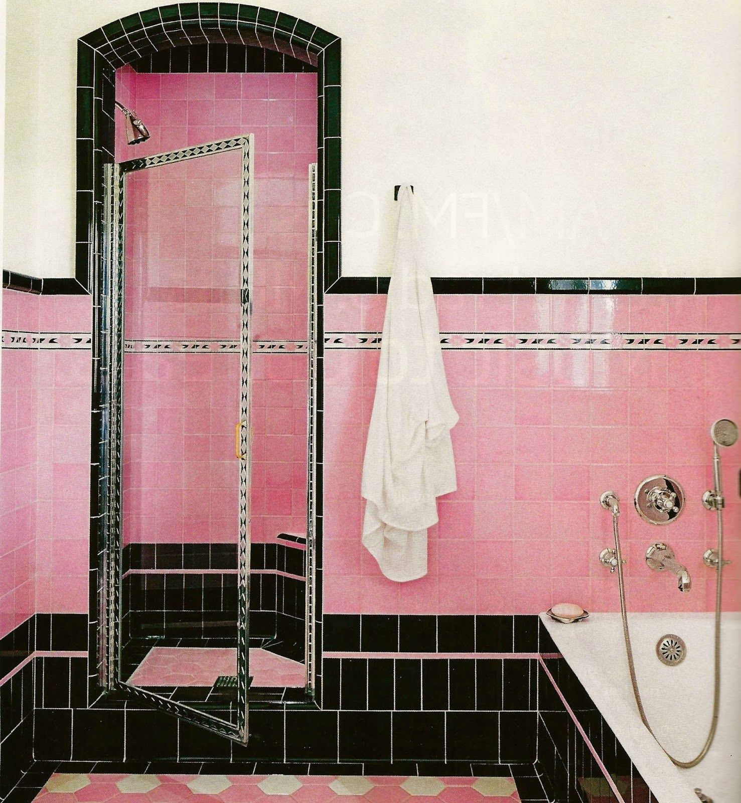 LOVE This Beautiful Pink And Black Tile.