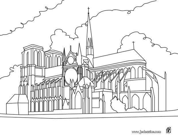 Coloriage De La Cathédrale Notre Dame Coloriages Pinterest