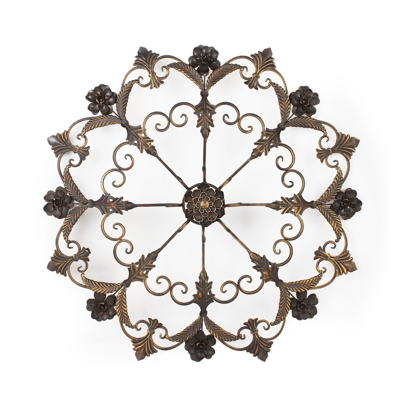 Iron Pieces Walls Adeco Decorative Bronzecolor Iron Round Flower Starburst Design