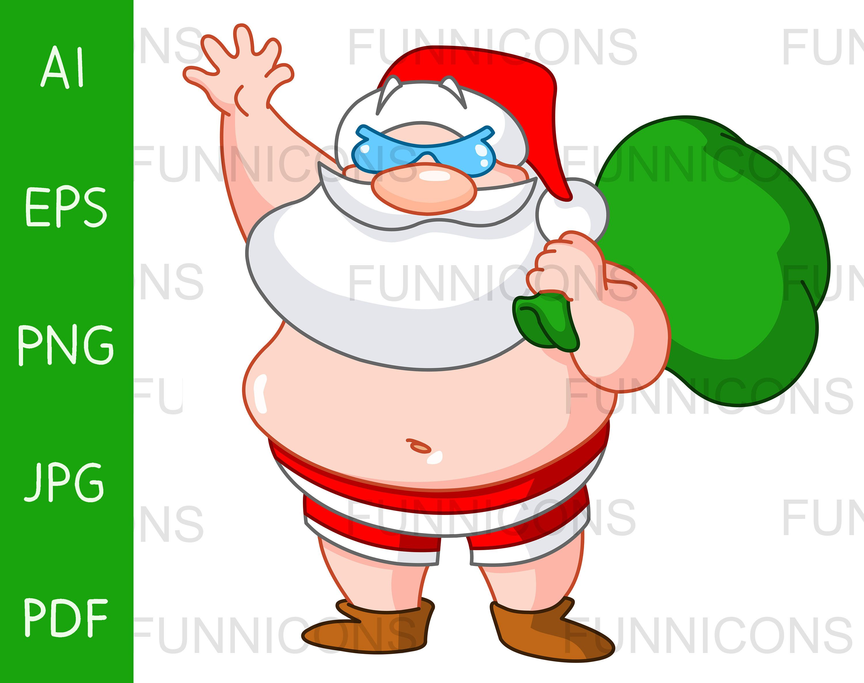 Christmas Clipart Cartoon Of Santa Claus In His Beach Shorts And Sunglasses Ai Eps Png Jpg And Pdf Files Included Digital Files Download Beach Santa Santa Funny Santa