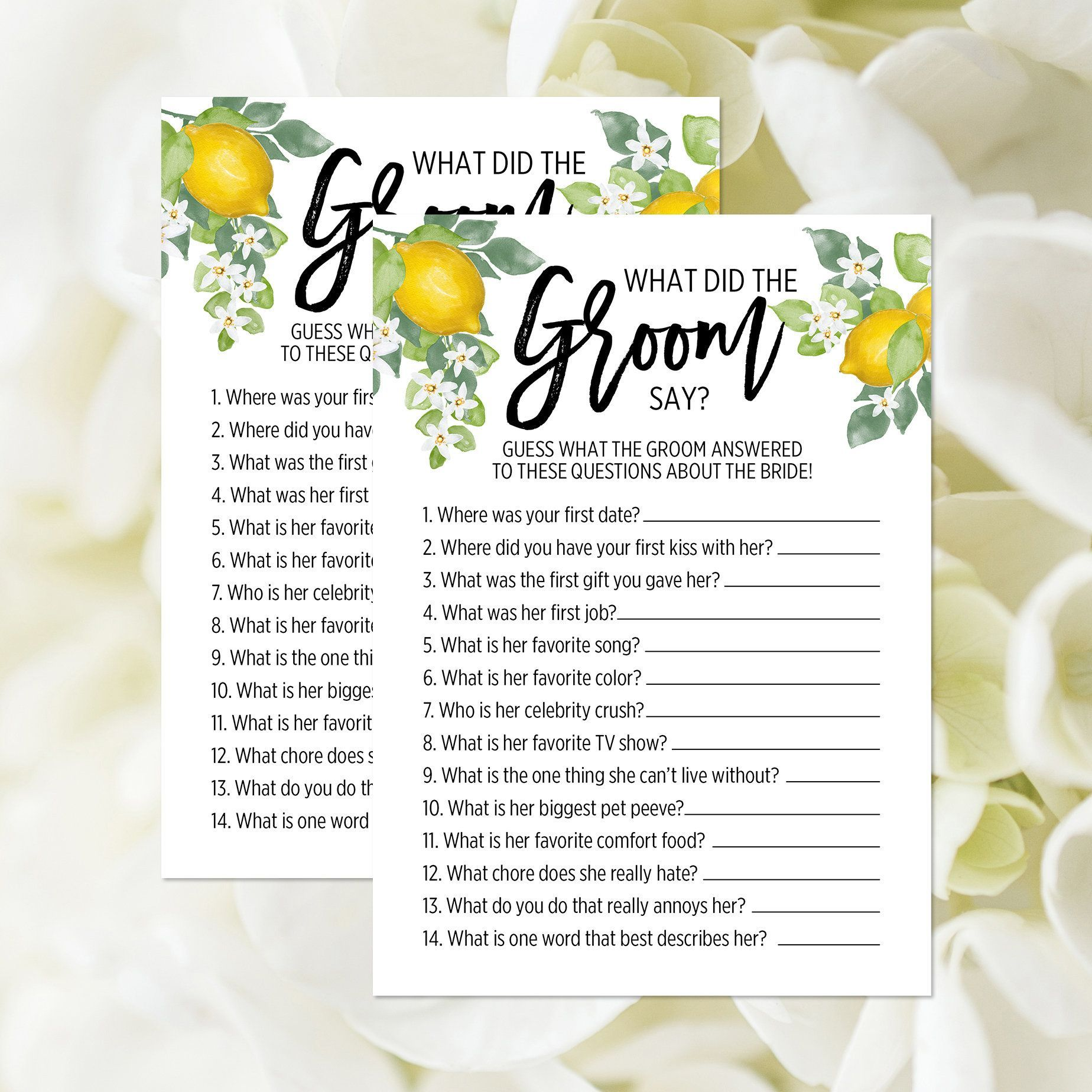 What Did The Groom Say Game, Printable, Groom's Questions, Lemon Bridal Shower Game, Guessing Game, Citrus Wedding Shower, Fruit 376#bridal #citrus #fruit #game #groom #grooms #guessing #lemon #printable #questions #shower #wedding