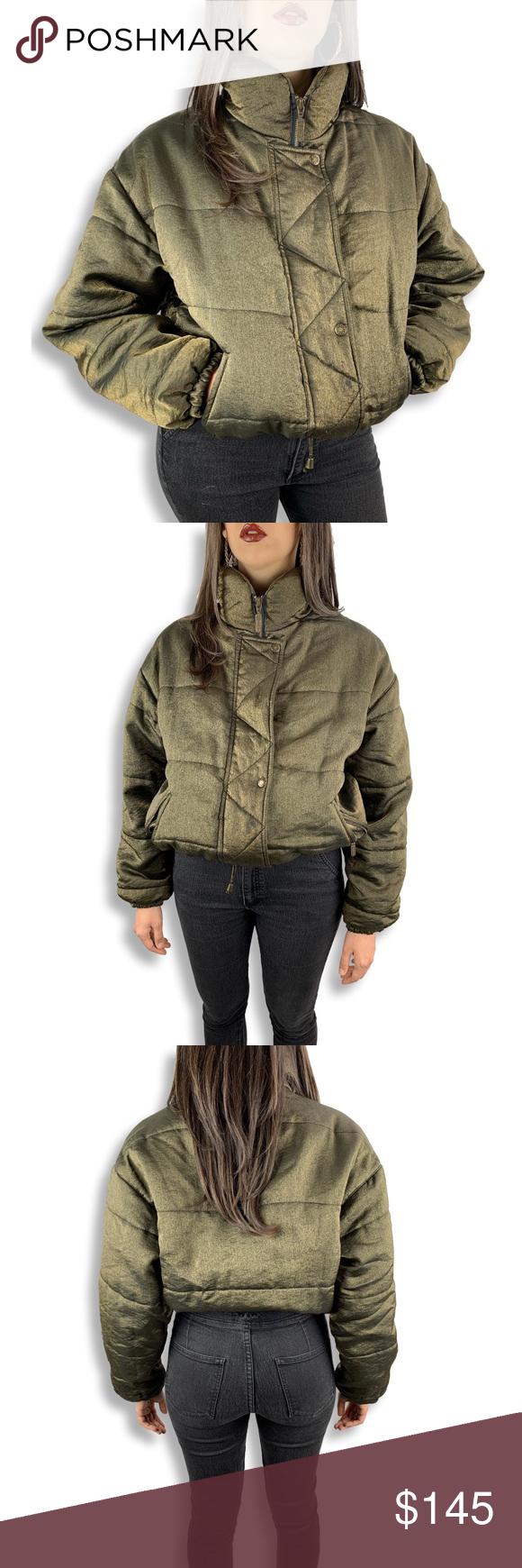 Sold Vtg Metallic Gold Green Jacket By Izzi Clothes Design Puffy Jacket Fashion [ 1740 x 580 Pixel ]