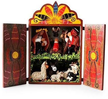 Wood and ceramic nativity scene, \u0027Christmas in Cuzco\u0027 Products