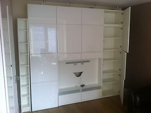 Ikea besta tv and wall unit combination high gloss white for White high gloss kitchen wall units