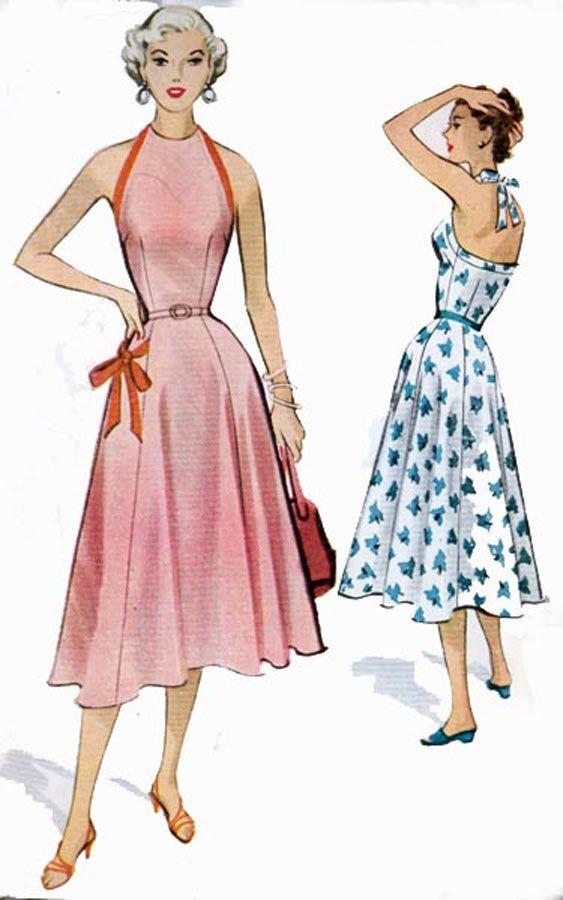 Rockabiily 1950s McCalls 9399 Best HALTER Dress Vintage 50s era ...