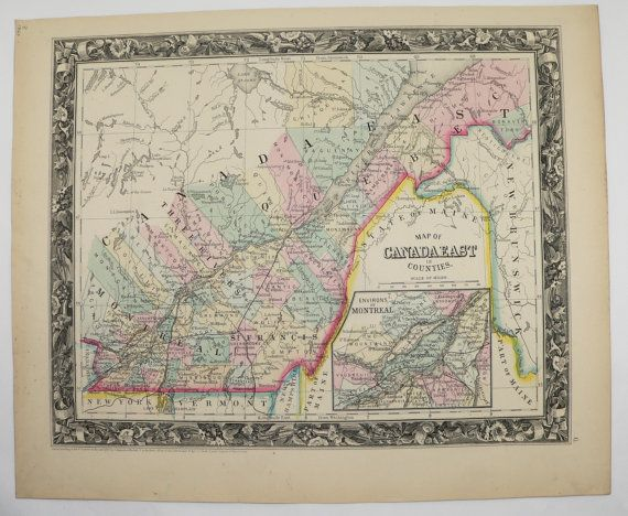 Quebec Map 1860 Mitchell Map East Canada Map Engraved Historic Map