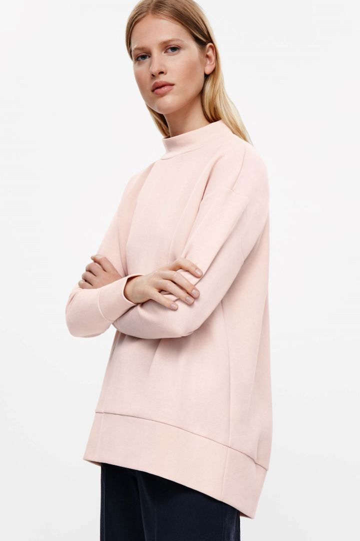 a3a9af20f5fc COS image 7 of Oversized high-neck sweatshirt in Pink   Cloth ...
