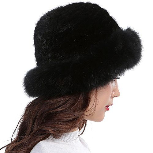 6c5816406a7 Chic Valpeak Womens Winter Hat Knitted Mink Fox Brim Real Fur Hats (Black).    49.9  offerdressforyou from top store