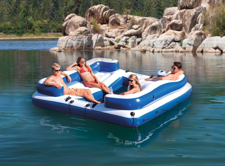 Intex Oasis Island Inflatable 5 Seater Lake River Floating Lounge Raft EP