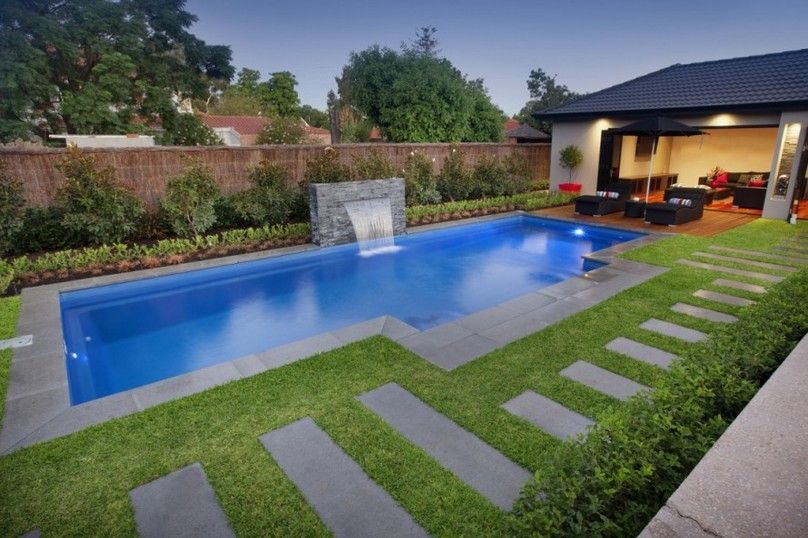 abstract swimming pool with small swimming pool designs concrete deck stone decorations and others modern swimming pool designs green lawn small water fall - Small Pool Design Ideas