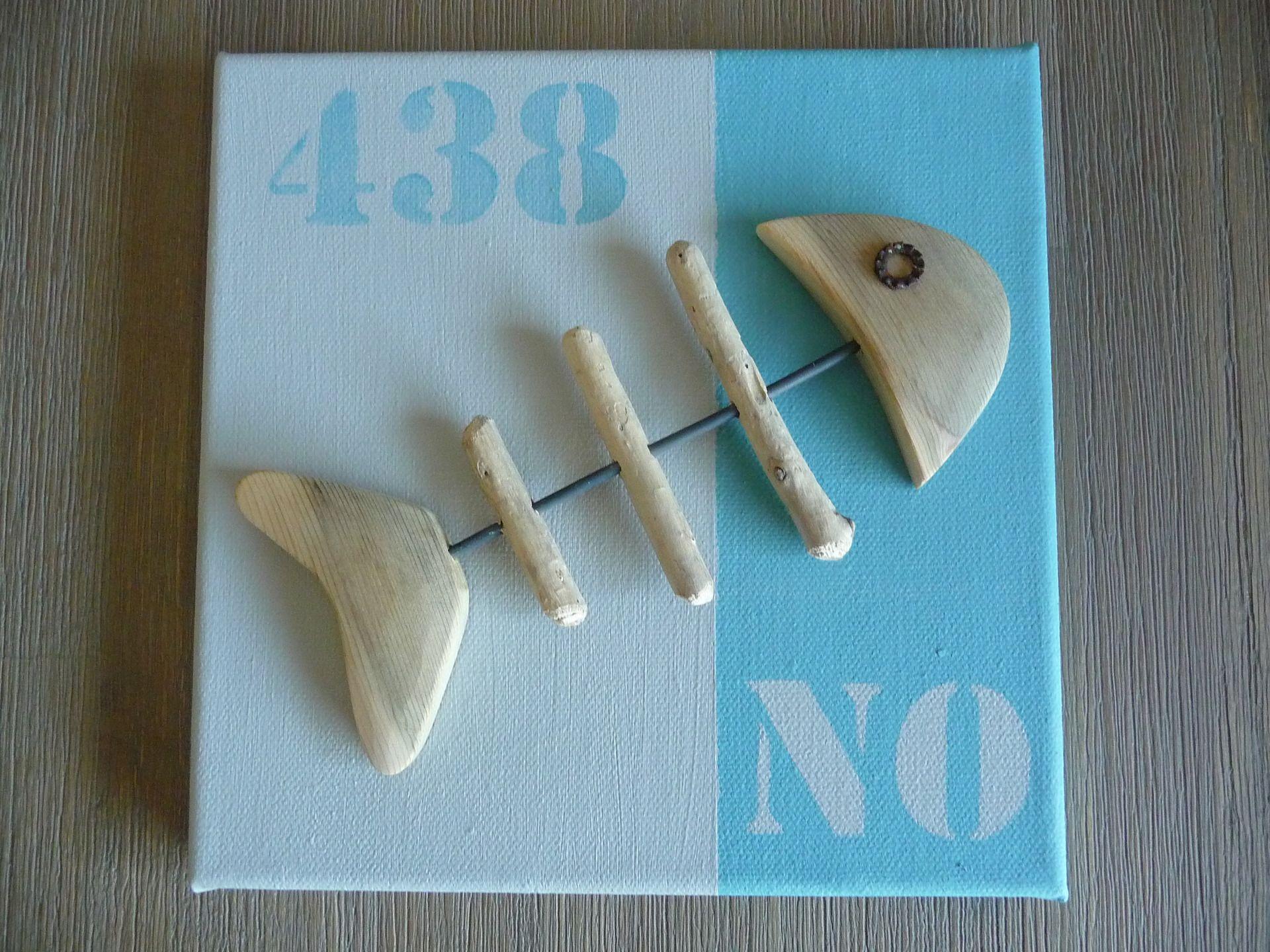 Tableau poisson n o noirmoutier bois flott bleu beige for Comment travailler le bois flotte