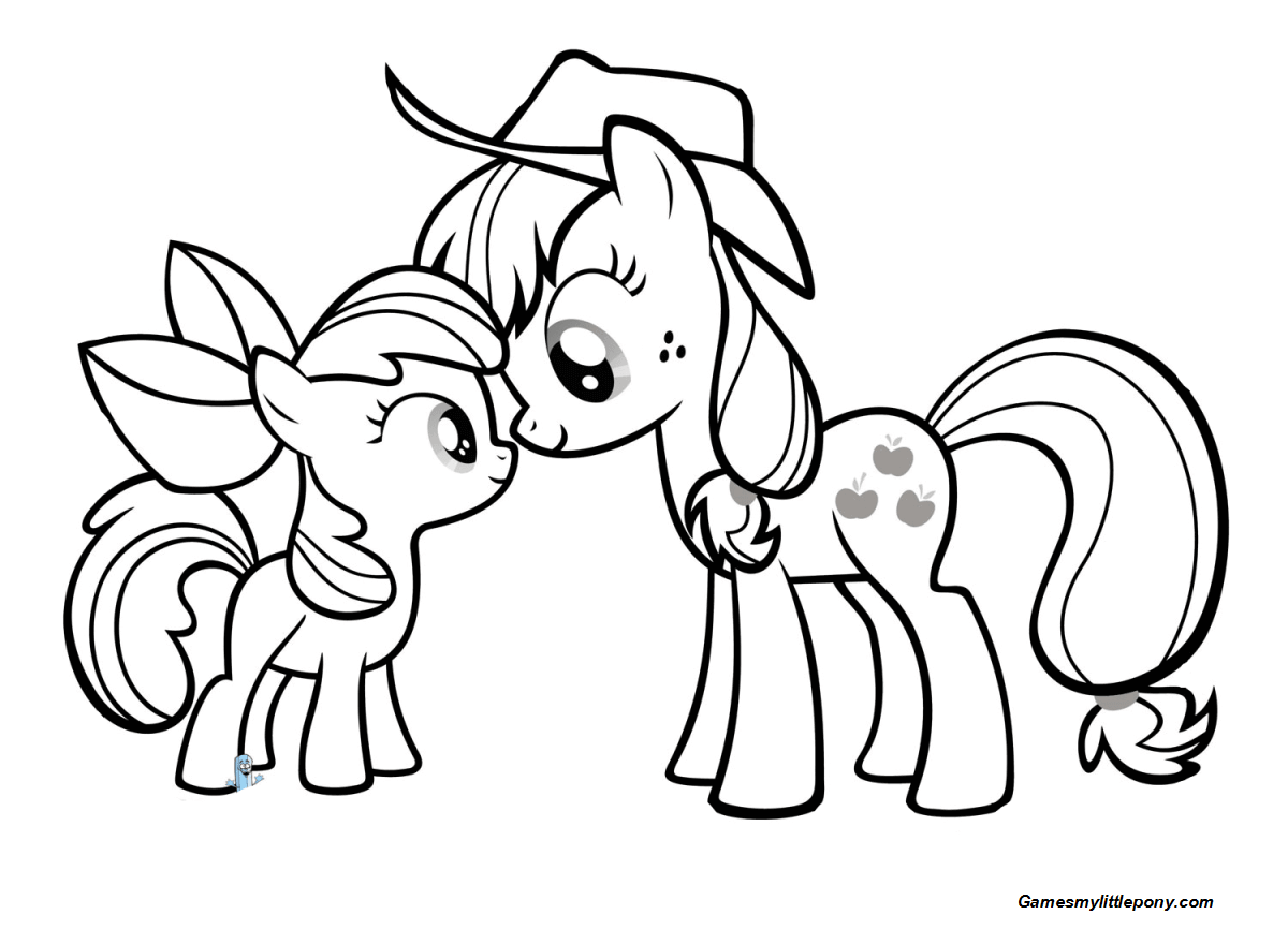 Mother And Baby Pony My Little Pony Coloring Horse Coloring Pages My Little Pony Applejack