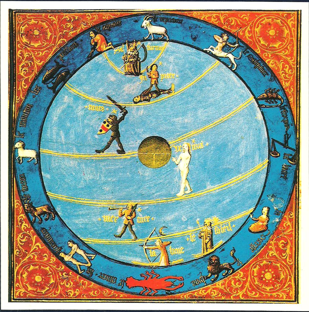 hight resolution of  diagram from a 15th century illuminated manuscript t o earth in the center personifications of the planets move around the celestial sphere