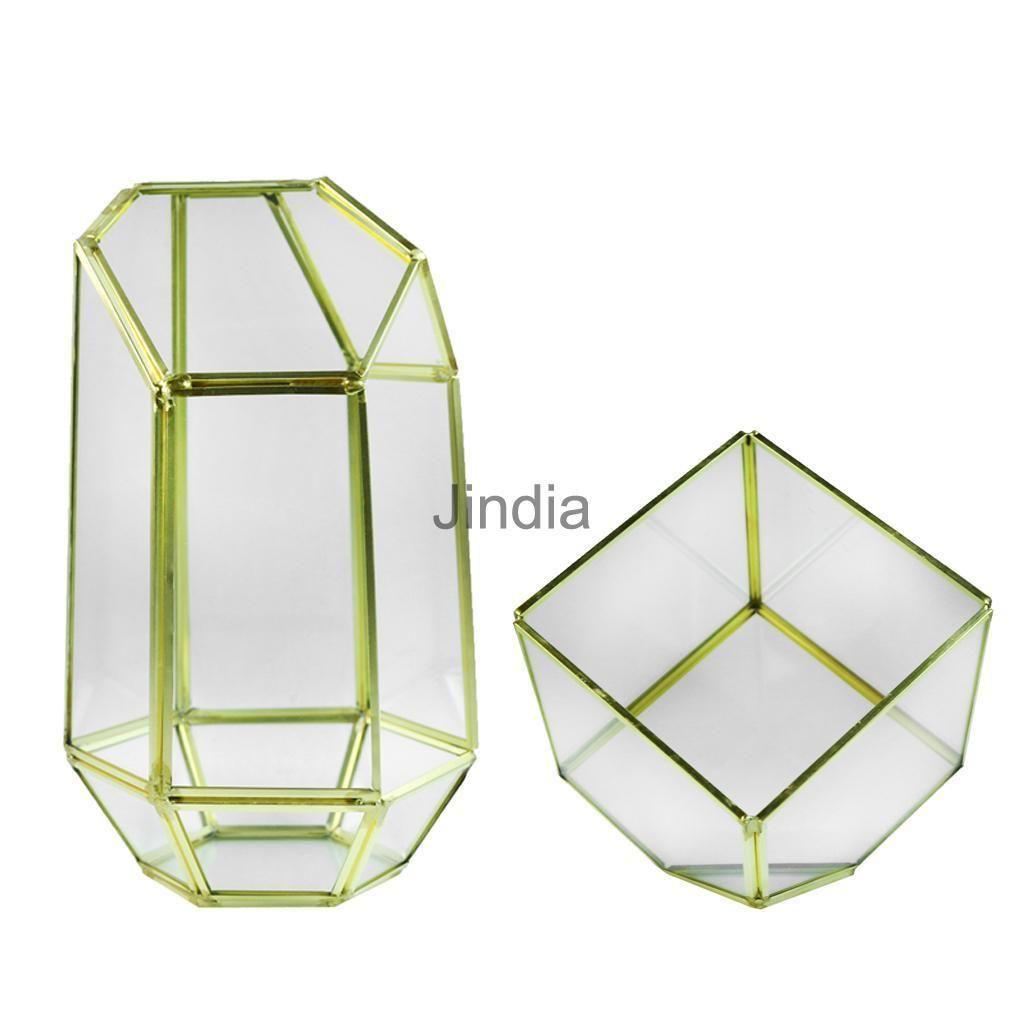 X modern metal glass flower vase plants terrarium container candle