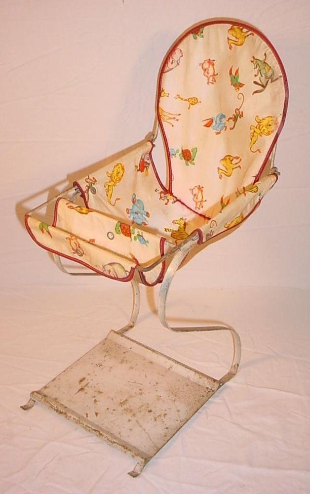 Vintage 1950s Dollie Babe Metal Frame Canvas Seat Baby