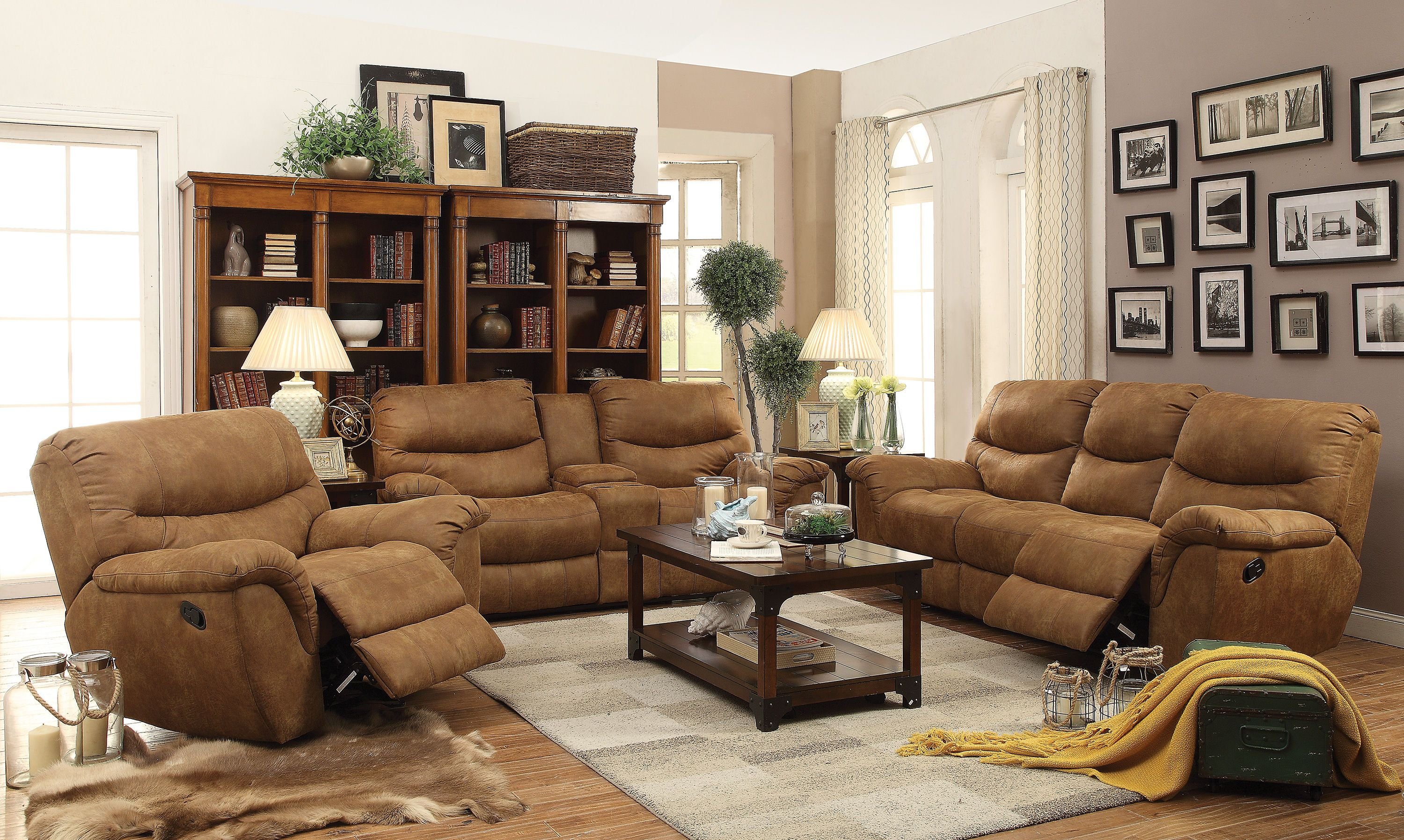 microfiber living room furniture sets large area rugs hancox motion light brown set the classy