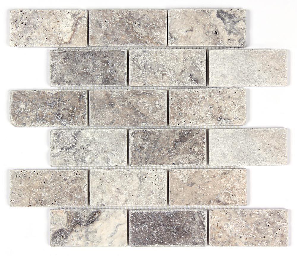 Silver Travertine Backsplash: Silver Travertine Tumbled 2x4 Mosaic Tile