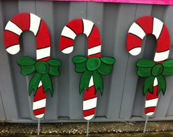 Candy Cane Outdoor Christmas Decorations Christmas Candy Canes Holiday Wooden Yard Art  Yard Art