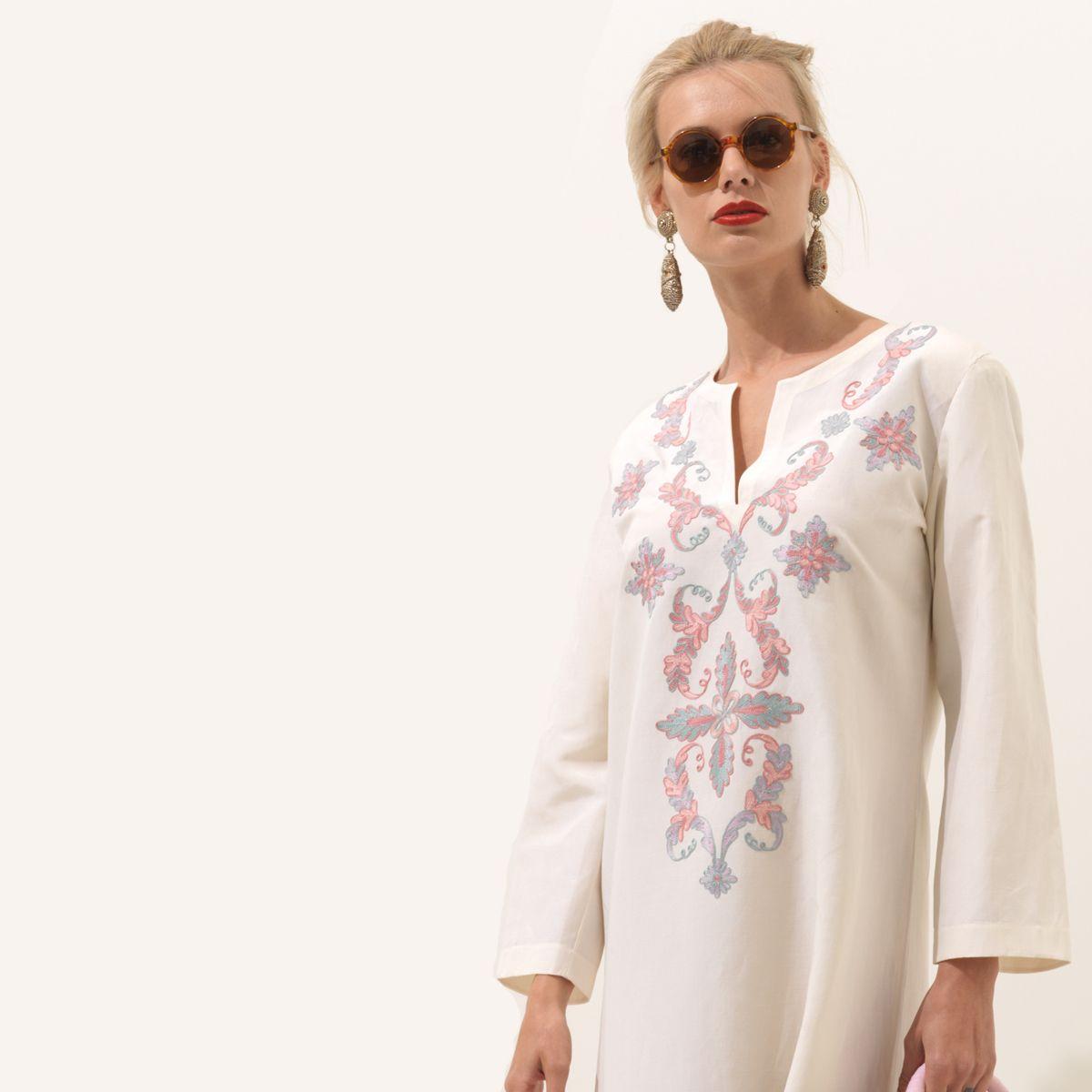 Loretta Caponi Caftan in silk and linen