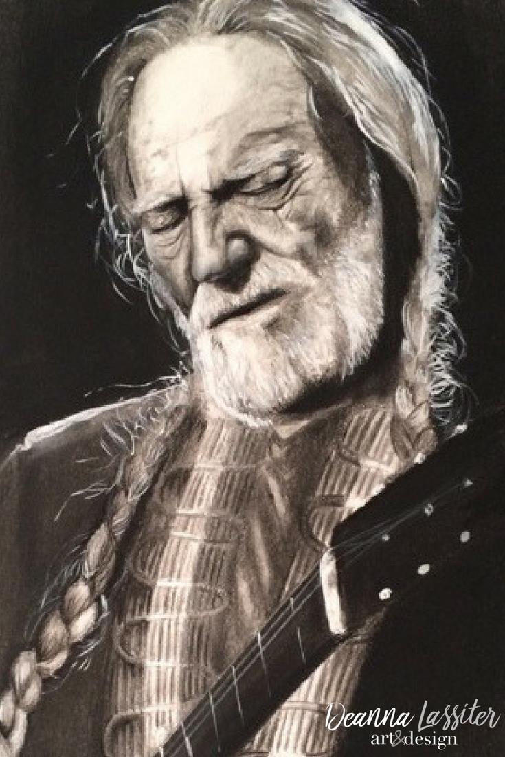 Willie Nelson- realistic charcoal portrait