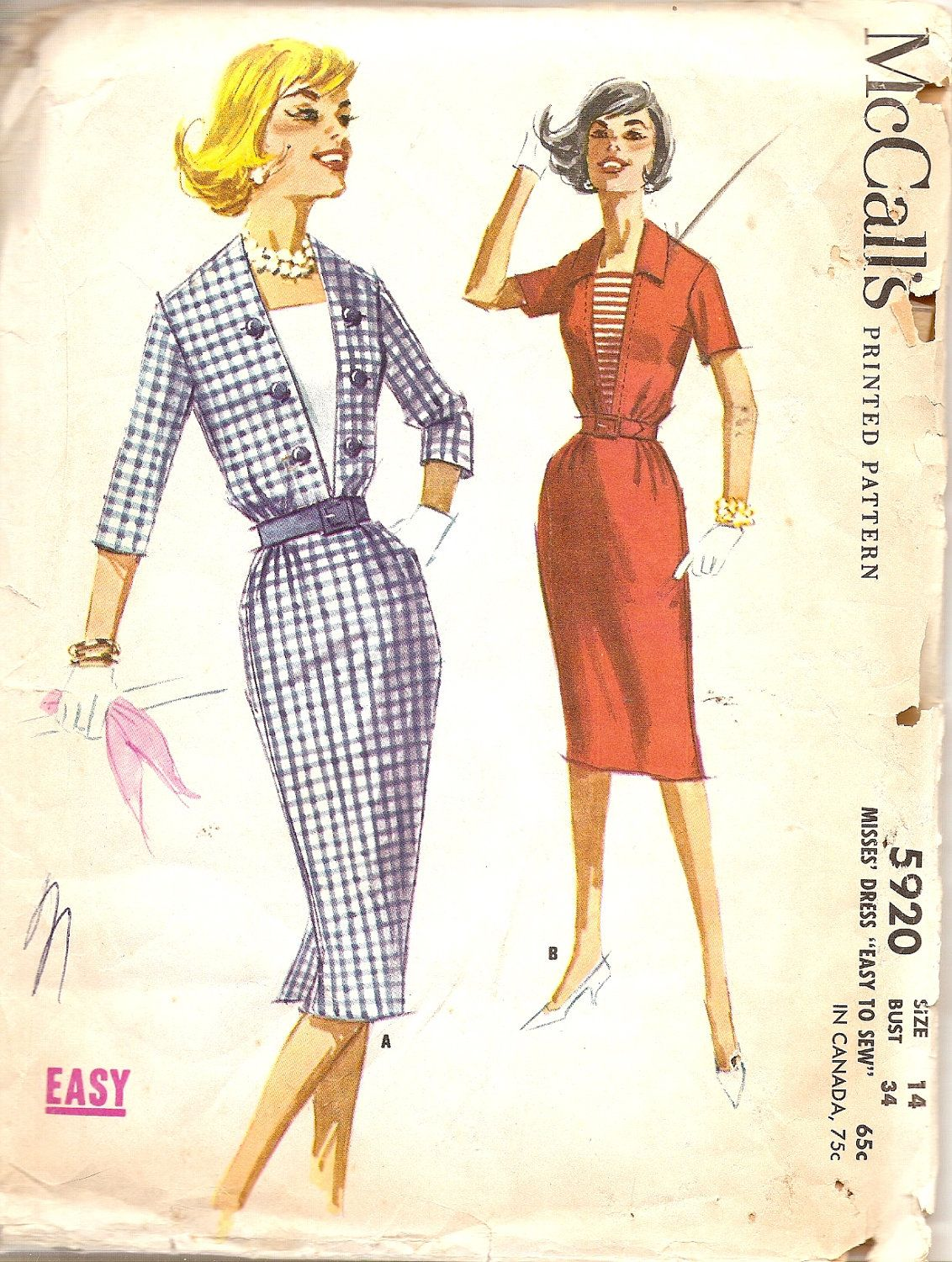 1960s Slim Wiggle Dress with Dickey Insert Bust 34 McCalls 5920 ...