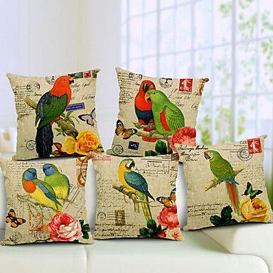 Set of 5 Parrot Pattern Cotton/Linen Decorative Pillow Cover – USD $ 67.99