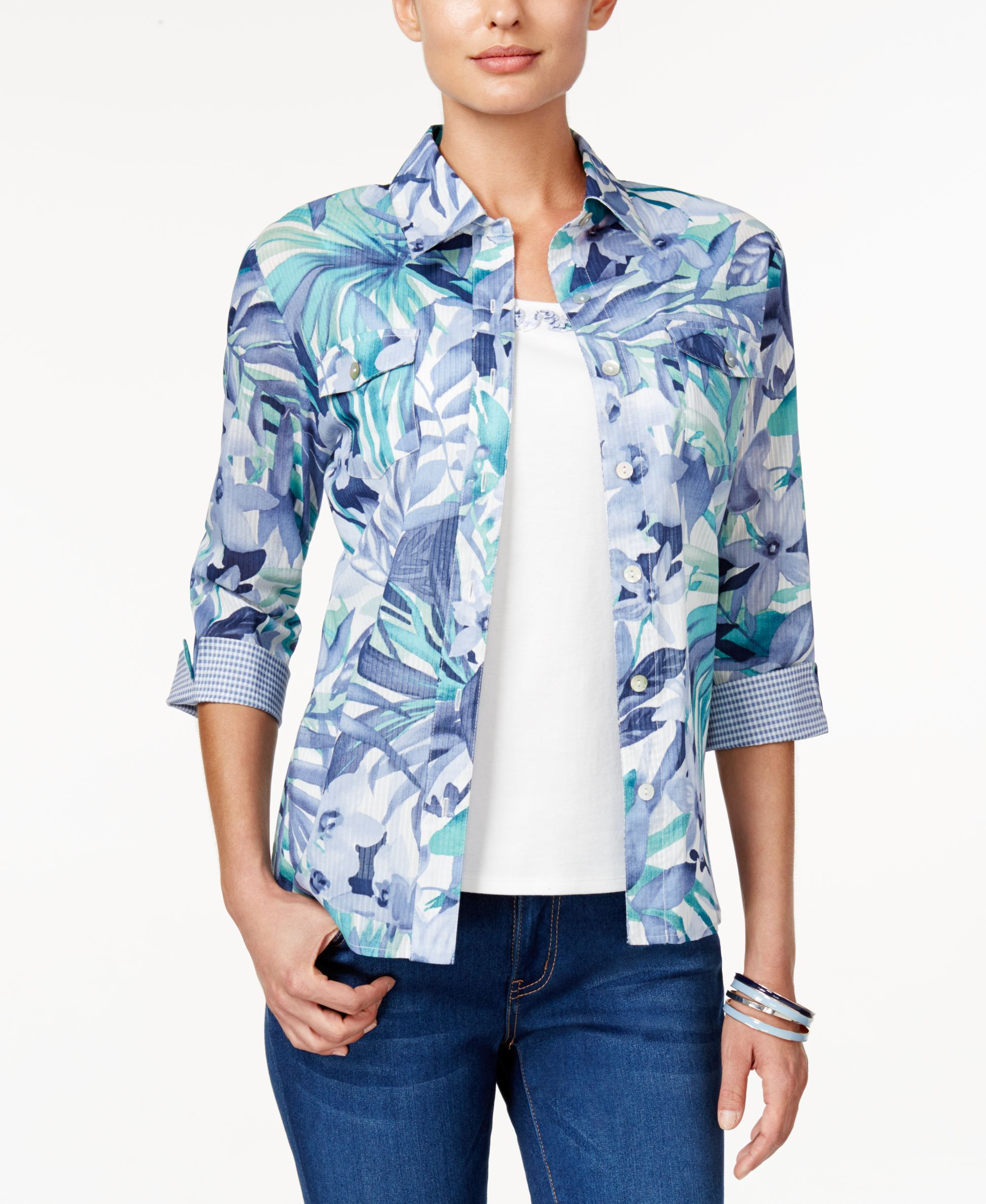 Alfred Dunner Layered-Look Printed Top