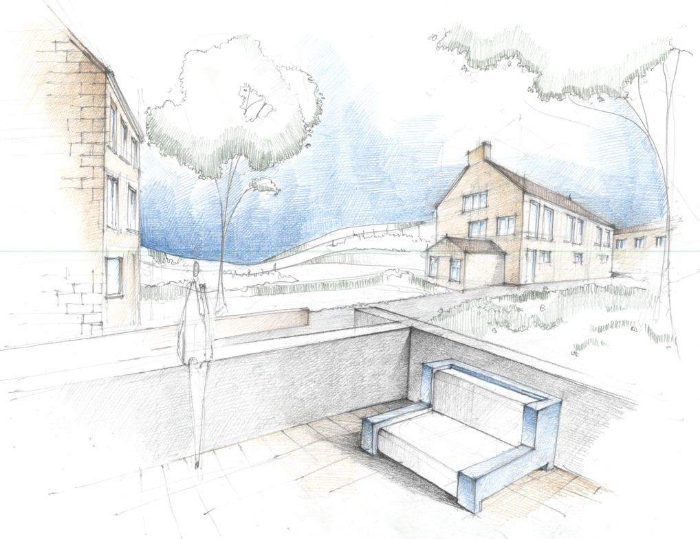 how to draw exterior perspective