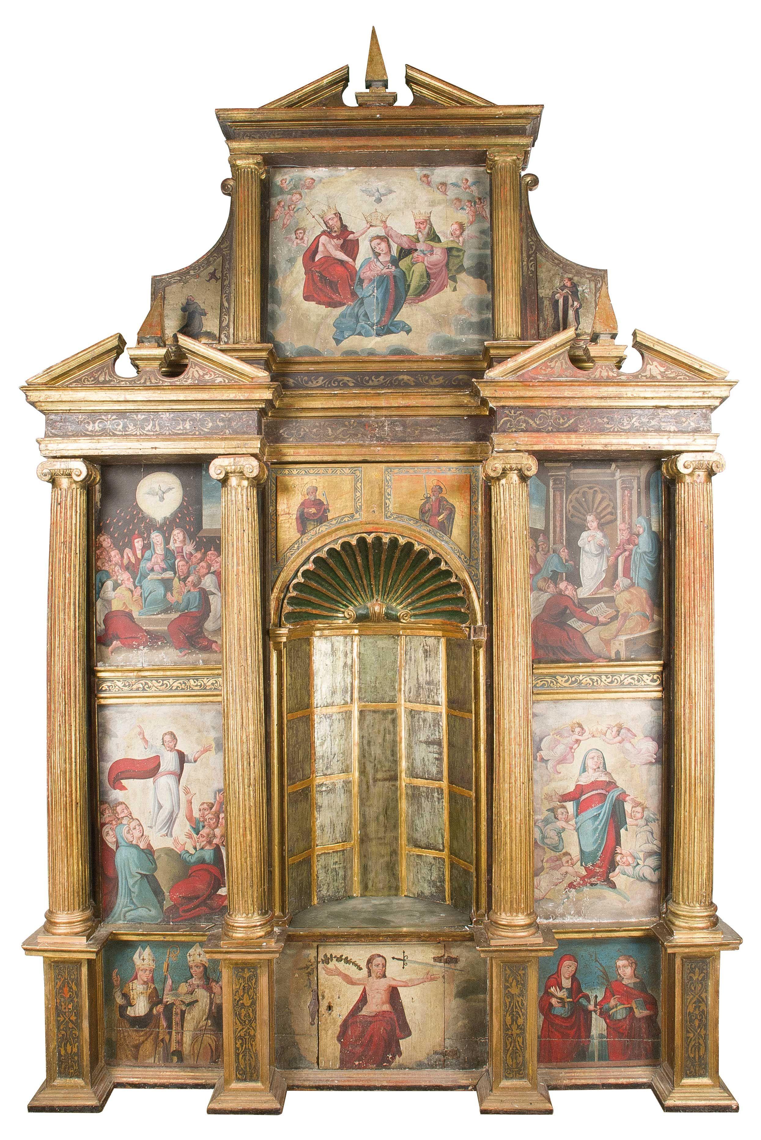 Retablo en madera tallada dorada y policromada y dorada - Pintura dorada para madera ...