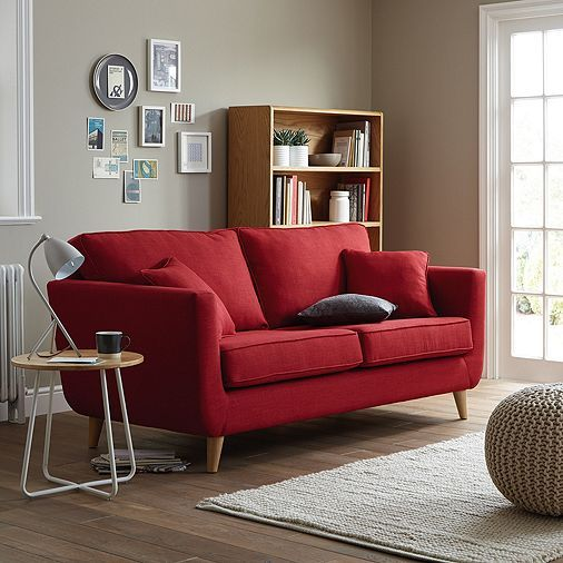 tesco direct chester large retro 3 seater sofa red downstairs