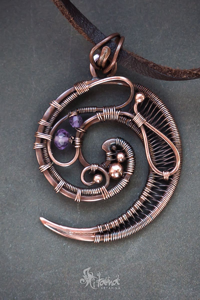 Swirl pendant // Copper spiral wire wrapped pendant with amethyst ...