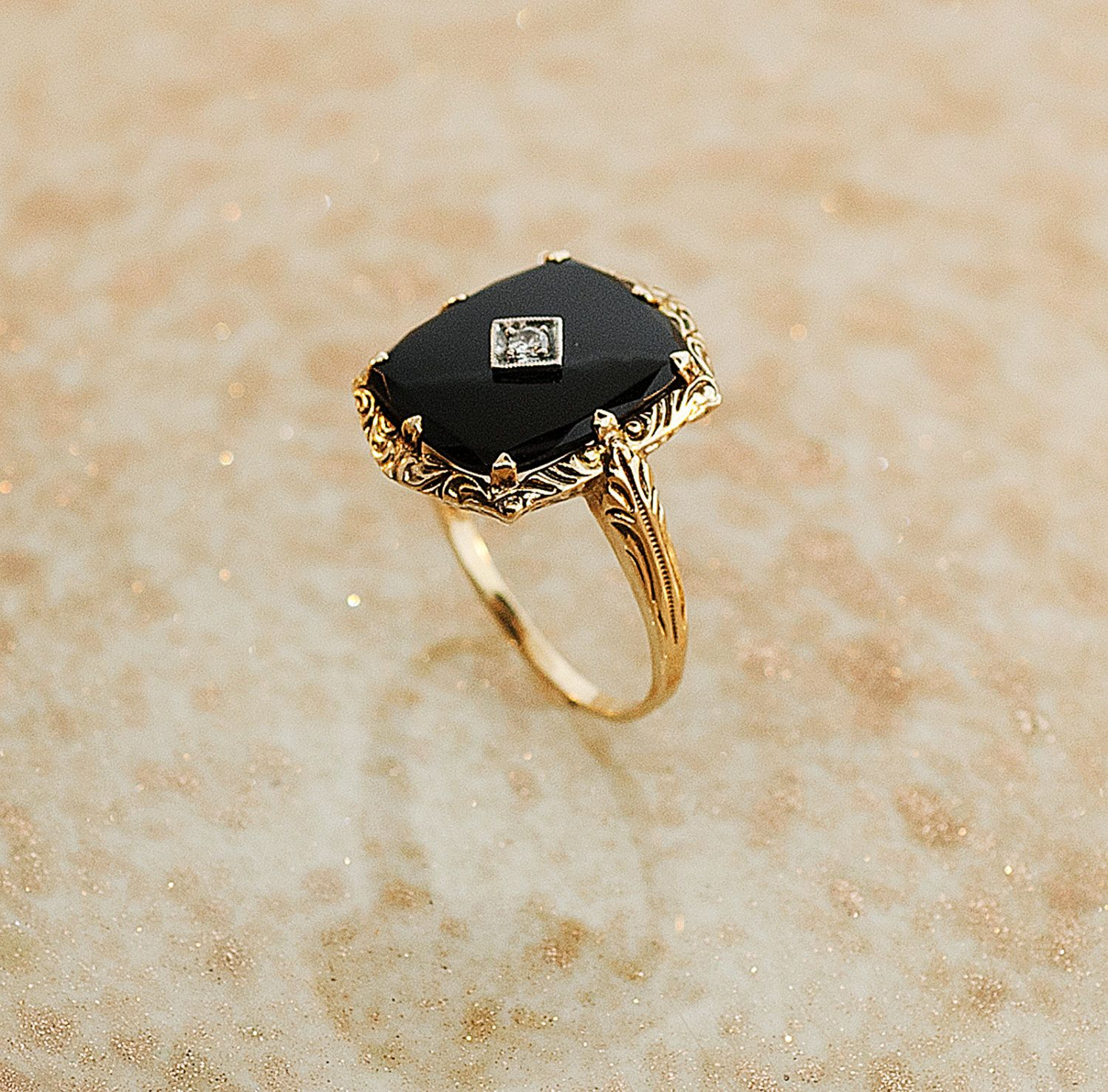 Antique 14k Yellow Gold Black yx and Diamond Ring $795 00 via