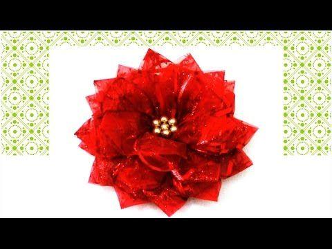 Flores De Navidad En Cintas De Organza Christmas Flowers In Organza Ribbons Flor De Navidad Flor De Noche Buena Cintas De Navidad