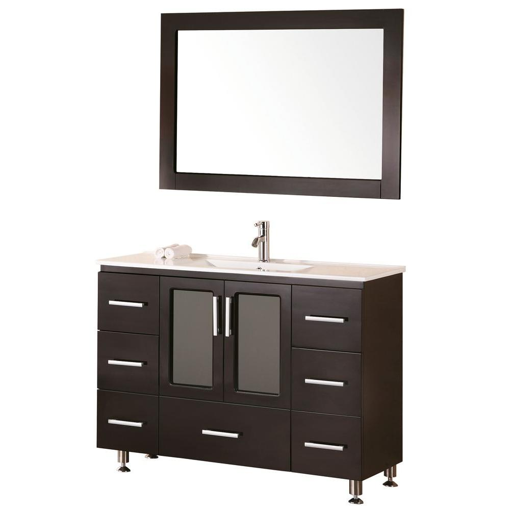 Design Element Stanton 48 In W X 18 In D Vanity In Espresso With Porcelain Vanity Top And Mirror In White B48 Ds The Home Depot Contemporary Bathroom Vanity Vanity Single Sink Vanity 48 x 18 bathroom vanity