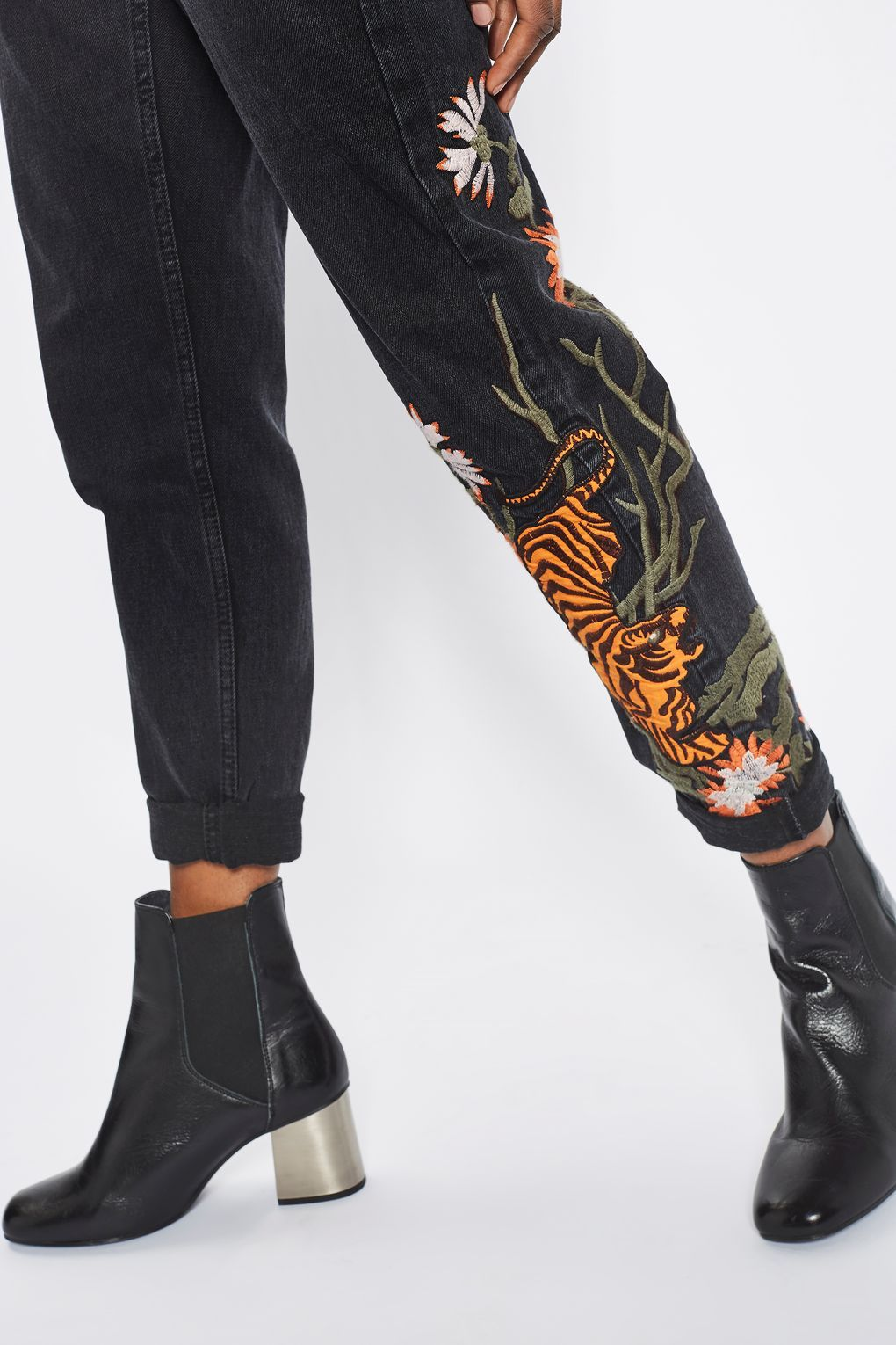 MOTO Tiger Embroidered Mom Jeans Jeans Clothing