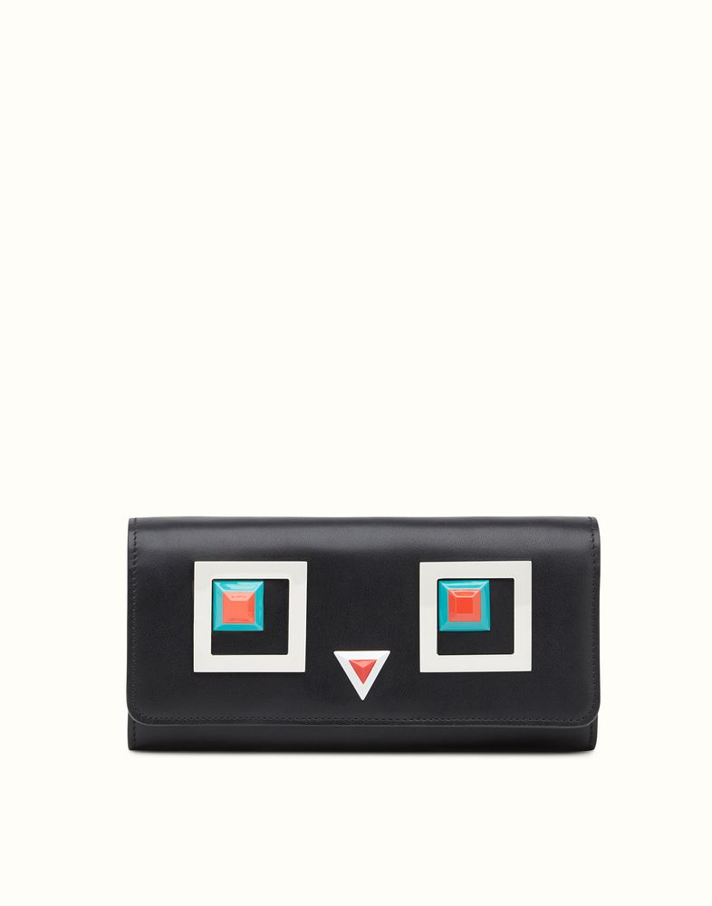 FENDI CONTINENTAL WALLET - in black leather with square eyes motif ... d41e793f32688
