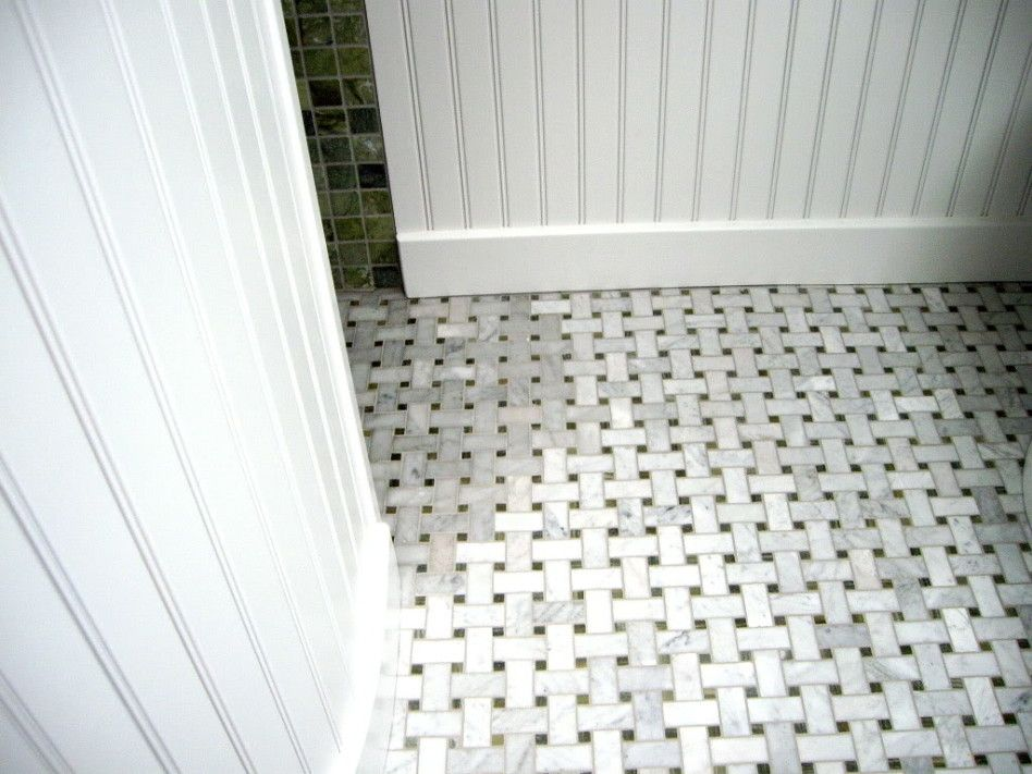 Bathroom Cool Carrera Marble Tile Discoloring Floor With Square Small Hollow Draining System