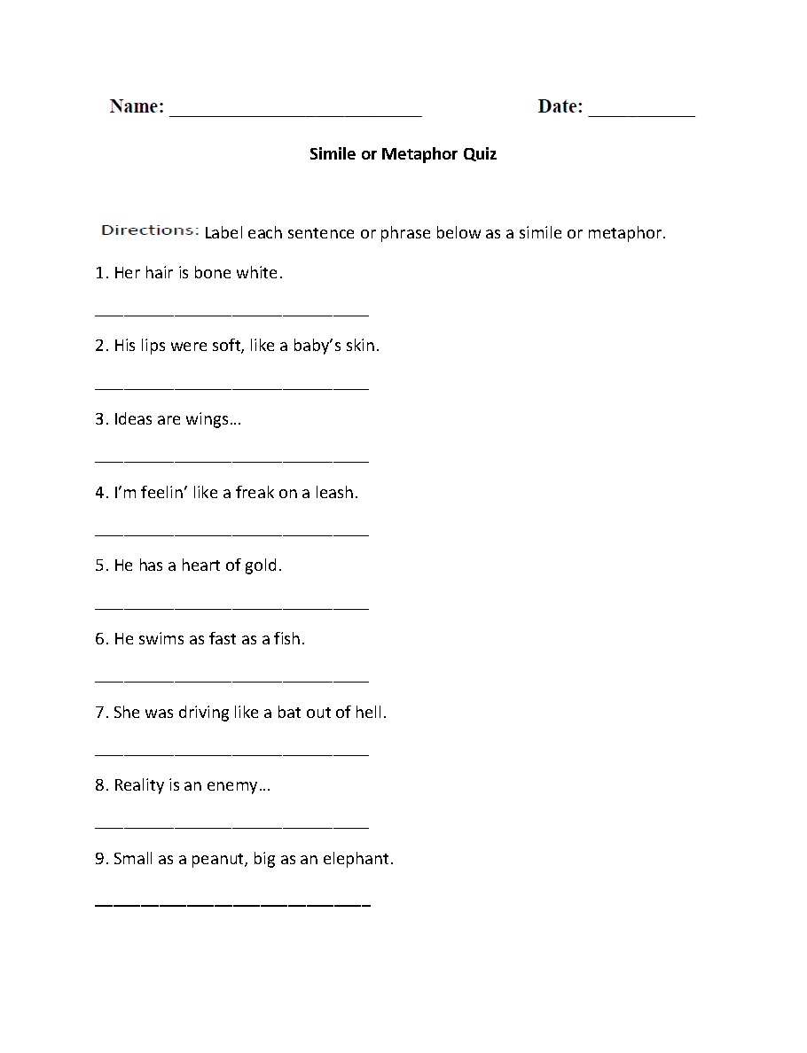 Simile or Metaphor Quiz Worksheet   Similes and metaphors [ 1188 x 910 Pixel ]