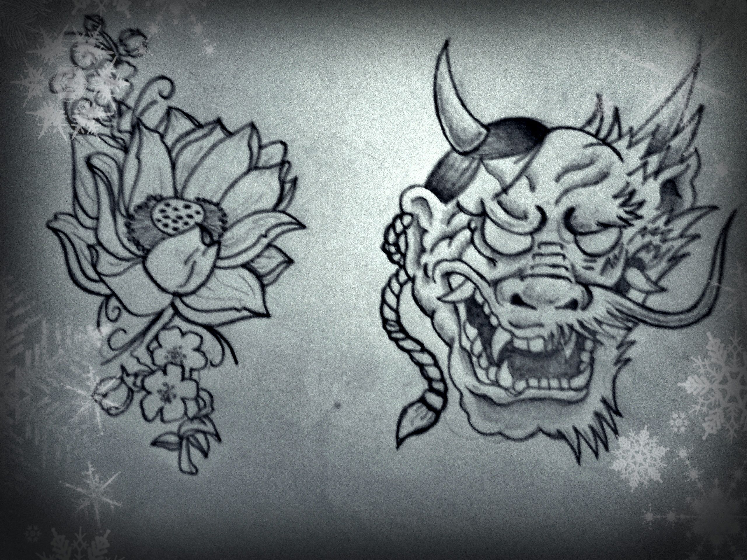 Lotus flower and cherry blossoms oni mask merged with a dragon face lotus flower and cherry blossoms oni mask merged with a dragon face izmirmasajfo Images