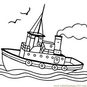 free printable coloring page Tugboat (Transport > Water