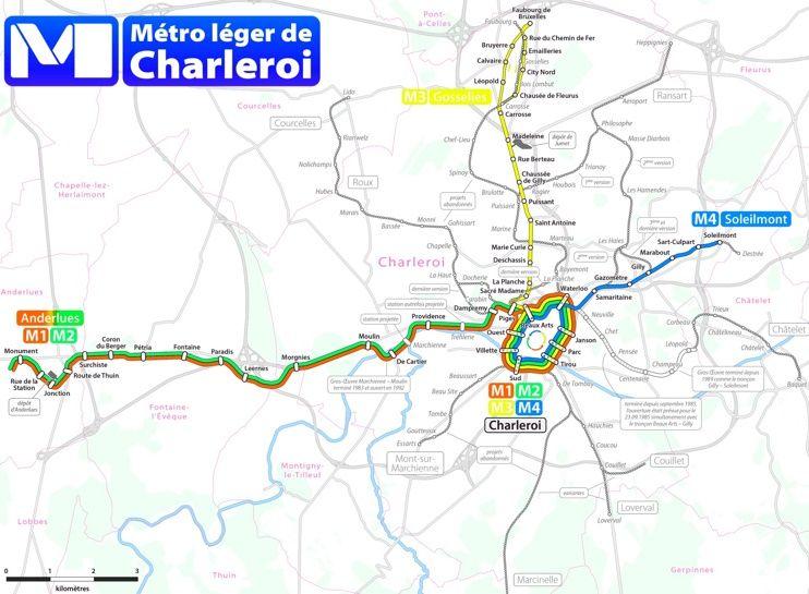 belgium city cards charleroi metro map