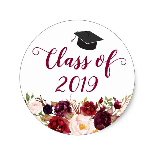 Salzburg Creations Burgundy And Rose Gold Fireworks: Class Of 2019 Rustic Burgundy Floral Graduation Classic