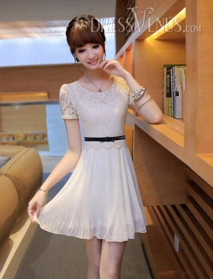 Simple OL Style Slim Split Joint Short Sleeve Lace Dress